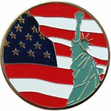 Liberty US Flag and Statue of Liberty Ball Marker with Matching USA Hat Cli