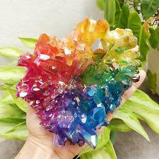 2.2LB AMAZING Rainbow Aura Quartz Cluster Titanium Bismuth Crystals Pagan Altar