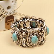 Damen Natural Türkis Armband Tibet Silber breit Armreif Schmuck Retro  Neu