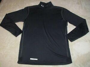 Mens UNDER ARMOUR COLDGEAR Base MOCK NECK Compression FITTED Shirt Black Medium