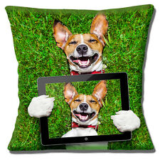 "Laughing Jack Russell Smooth Coat Tan White 'Selfie' 16""x16"" 40cm Cushion Cover"