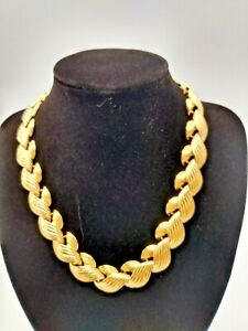 "Park Lane 1980sBraided Statement  Necklace 18"" Gold Plated"