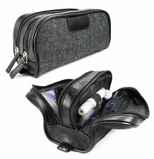 Tuff-Luv Heringbone Tweed and Leather Insulin / Travel / Toiletry case