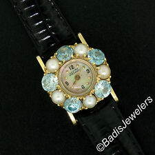 Vintage 14K Yellow Gold Lucien Piccard Blue Zircon & Pearl Bezel Ladies Watch