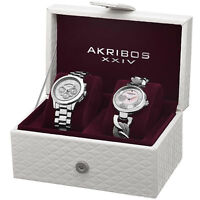 Women's Akribos XXIV AK676SS Elegant Silver-tone Diamond/Multifunction Watch Set