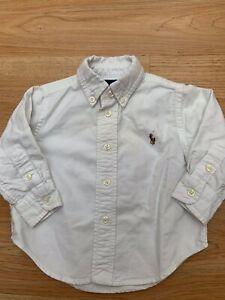 Boys Ralph Lauren 100% cotton classic White shirt 9M Size 9 months / Bargain 99p