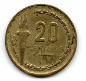 Perú 1954, vintage coin, Marshall Ramon Castilla, LIberty Torch, 20 centavos
