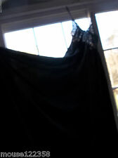Vtg Nancy King Negligee Gown  Nightgown black Nylon sexy lace wide sweep size xl