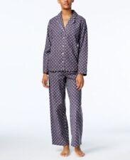 Alfani gray polka dot Cotton Flannel Pants PJ Pajama Set 3XL