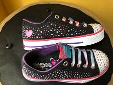 SKECHERS Girls Twinkle Toes Kids Black/white w colors Limited Edition Shoes Sz 1