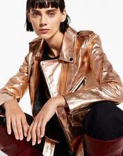 $150 ZARA LAST 1!-Rose Gold Metallic Real Leather Biker Jacket W/ Zip Studded M