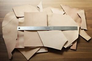 4 LB Vegetable Tan Tooling Cowhide Leather Scraps Light 3-6 oz. (1-2.4mm) Thick