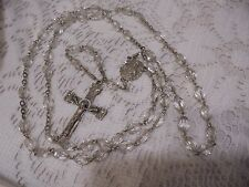 STERLING SILVER  CROSS ROSARY CRYSTAL NECKLACE  28 IN.