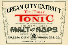 Prohibition Cream City Products Co. The Finest Tonic Bottle Label - Milwaukee Wi