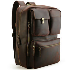 "16"" Laptop Leather Backpack Men Luggage Briefcase School Messenger Shoulder Bag"