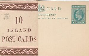 STRAITS SETTLEMENTS  1903  ISSUE ONE CENT POSTAL STATIONERY CARD UNUSED WRAPPER