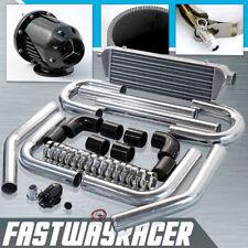 Universal 2.5'' Aluminum FMIC Intercooler Piping Kit + Black SQV SSQV Turbo Bov