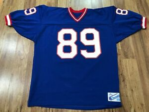 MENS XL Vtg 90s NFL New York Giants #89 Bavaro Champion Printed Sewn Jersey USA