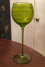 Very Large Green Mouth-Blown Crystal Wine Glass Hand-Made In Romania • 11 Inches