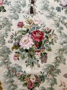"Vintage Sanderson Pink,Crimson & Green Rose Floral 'Chatsworth' 22x22""Fab"