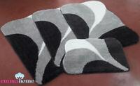 ROMANY GYPSY MICROFIBER WASHABLE RUGS 4pc SET, LARGE DOLCE BLACK/FUME/GREY/WHITE