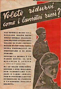 """RARO DEPLIANT """" VOLETE RIDURVI COME I LAVORATORI RUSSI ? """" PROPAGANDA D.C. 1948"""