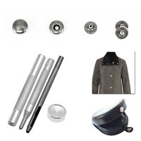 15mm S Spring Press Studs Silver with Fixing Tool for DIY Sewing Leathercrafts