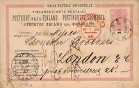 Finland 1885 Postal Stationery Card to England via St. Petersburg (ref. 104)