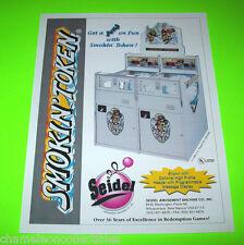SMOKIN TOKEN By SEIDEL 1995 ORIGINAL NOS REDEMPTION ARCADE GAME SALES FLYER