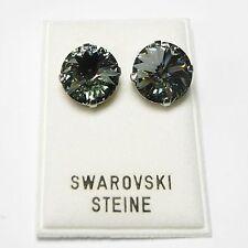 Neu OHRCLIPS 14mm SWAROVSKI STEINE black diamond/schwarz-grau OHRRINGE Ohrclipse