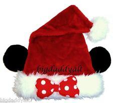 NEW DISNEY WORLD MICKEY MOUSE EARS MINNIE CHRISTMAS SANTA HAT ADULT