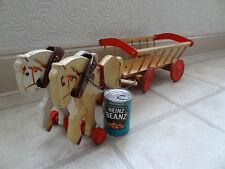 VINTAGE IN LEGNO Due Cavalli con Carro da fieno, giocattolo BELLISSIMO, UNICO