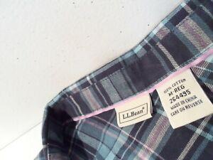 L.L.Bean Women's Flannel Shirt Size Medium Soft Cotton Plaid Blue Top 264495
