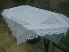 More details for large antique linen and hand crochet lace tablecloth