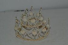 Antique / Vintage Small Beaded Crown / Tiara Headpiece