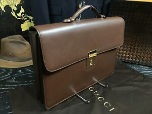 """GUCCI Italy 16"""" Brown Leather Attache Briefcase Mens Business Bag $1850 NEW"""