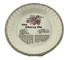 "Vintage Watkins Pie Plate-13""-Deep Dish with Cherry Pie Recipe-Heavy Ceramic"