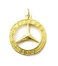 18k Yellow Gold Mercedes Benz Logo Charm Necklace Pendant ~ 11.9g