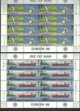 ISLE OF MAN 1988 CEPT, Europa, transport & communication 2 SHEETS(fr)(nl)