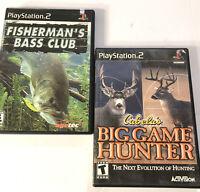 Lot of 2 PS2 Playstation 2 Games Cabela's Big Game Hunter, Fisherman's Bass Club