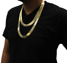 "Mens 14K Gold Plated 14mm Flat 24"" & 30"" Herringbone Necklace Chain Set of 2"