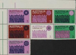 1971 Australian Last MUH Corner Block 7x 7c Christmas Stamp variety issues