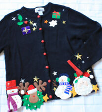 Ugly Christmas Cardigan Sweater Snowman Reindeer Applique Sz S