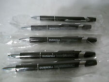 5 New Ink Writing Pens DURACELL Promo Black Ink Black & Silver Clicker Wrapped
