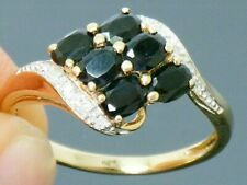 9ct Gold Sapphire & Diamond Hallmarked ring size P