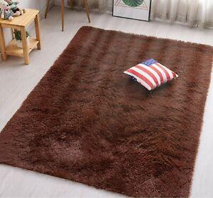 Super Soft Chocolate Brown Shag Non-Slip Bedroom Living Area Rug Shaggy Carpets