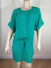 NEW FAMOUS CATALOG WOVEN DROPPED WAIST EASY FIT MINI DRESS BRIGHT EMERALD SZ M