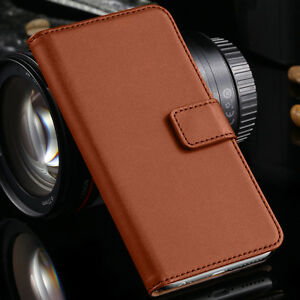 Luxury Brown Real Leather Case Cover Flip iPHONE Models Wallet