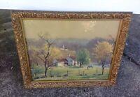 Vintage Leith Ross Bucks County Landscape Gold Wood Guild Framed Print Art *WoW*