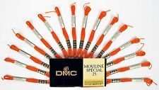 Dmc Mouline Special 25 Cross Stitch Thread 16 Skeins x 4 Metre Long 740 Orange